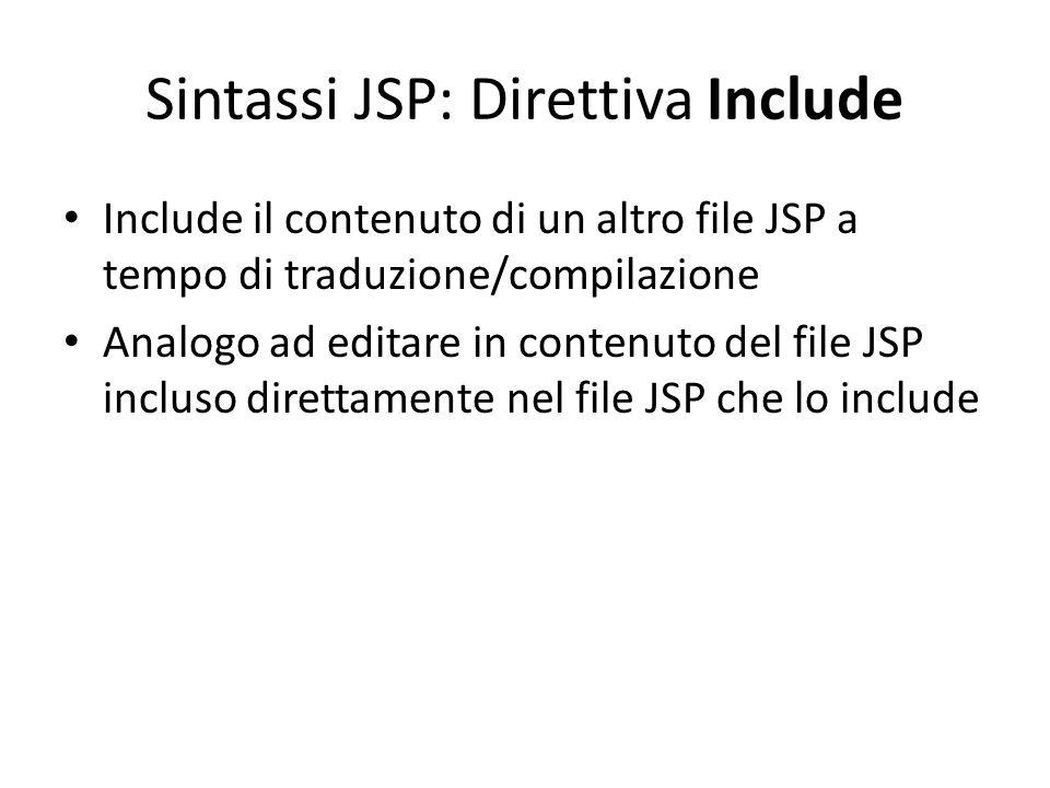 Sintassi JSP: Direttiva Include