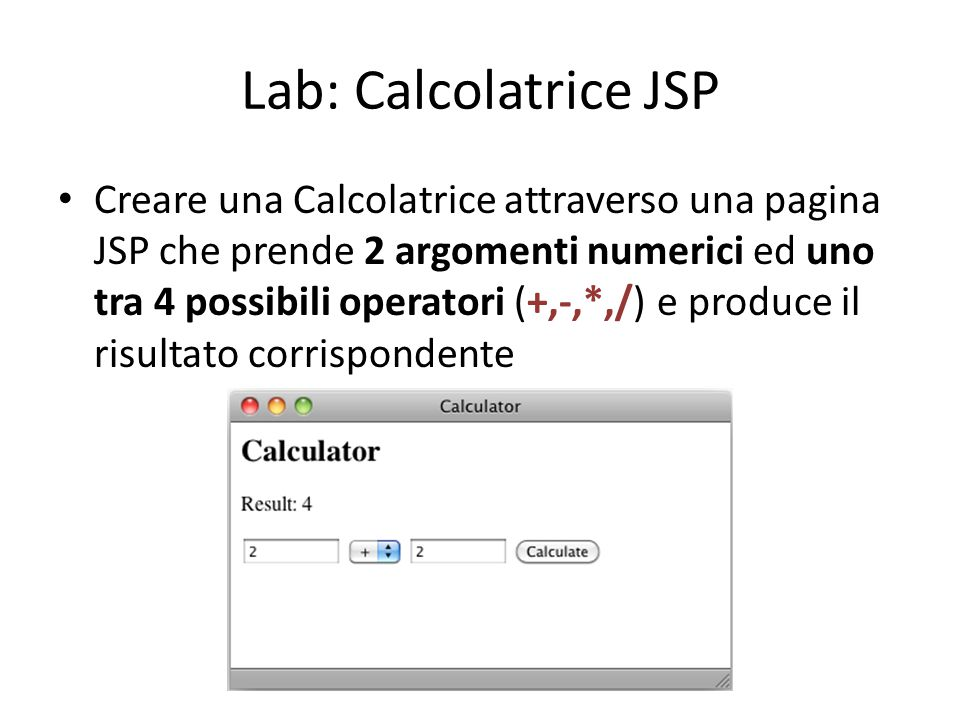 Lab: Calcolatrice JSP