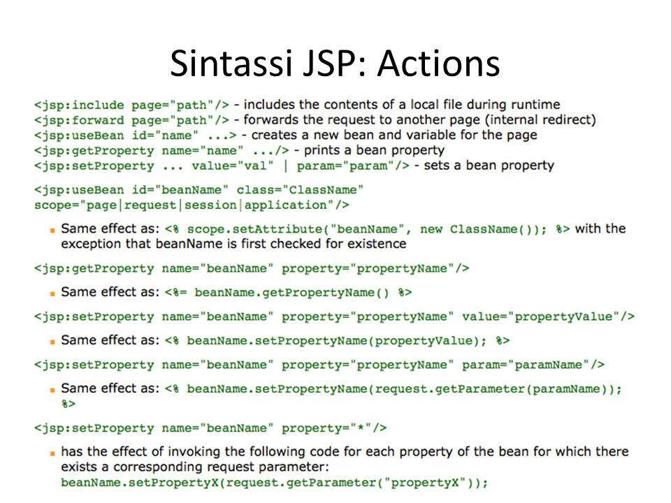 Sintassi JSP: Actions
