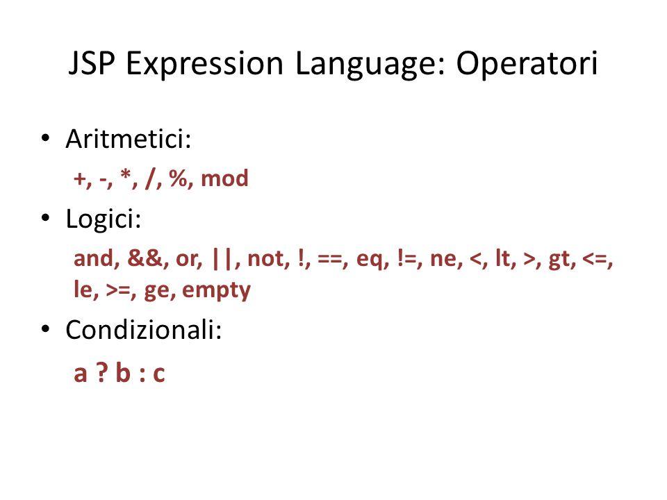 JSP Expression Language: Operatori