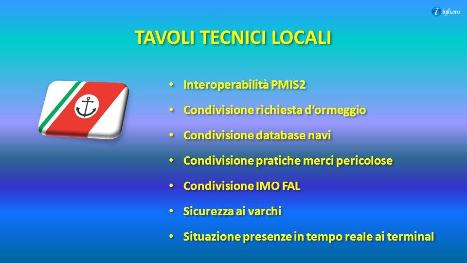 TAVOLI TECNICI LOCALI Interoperabilità PMIS2