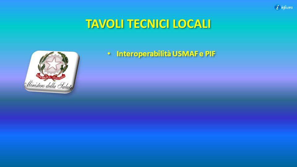 TAVOLI TECNICI LOCALI Interoperabilità USMAF e PIF