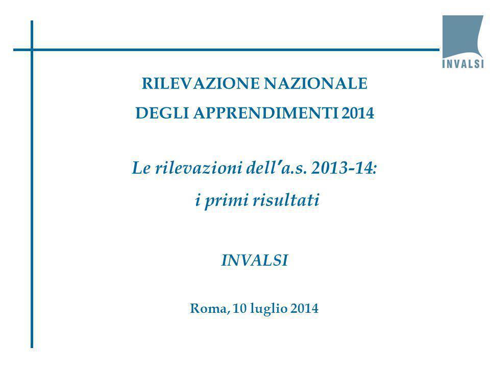 RILEVAZIONE NAZIONALE Le rilevazioni dell'a.s. 2013-14: