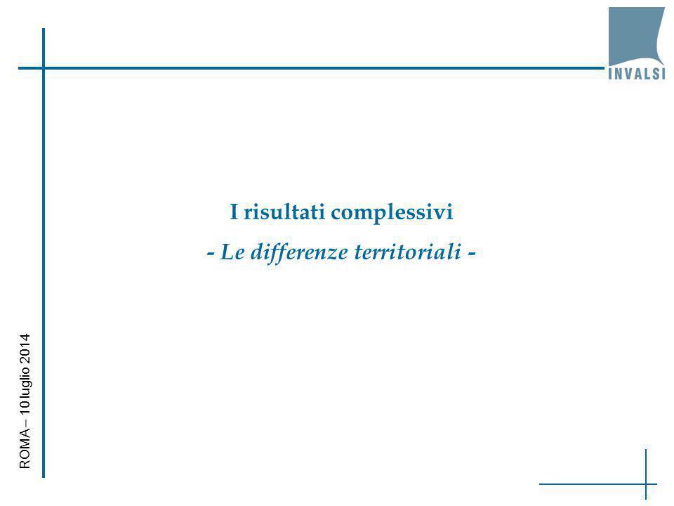 I risultati complessivi - Le differenze territoriali -