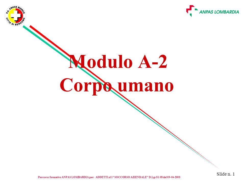 Modulo A-2 Corpo umano Percorso formativo ANPAS LOMBARDIA per: ADDETTI al 1° SOCCORSO AZIENDALE D.Lgs 81/08 del 09-04-2008.