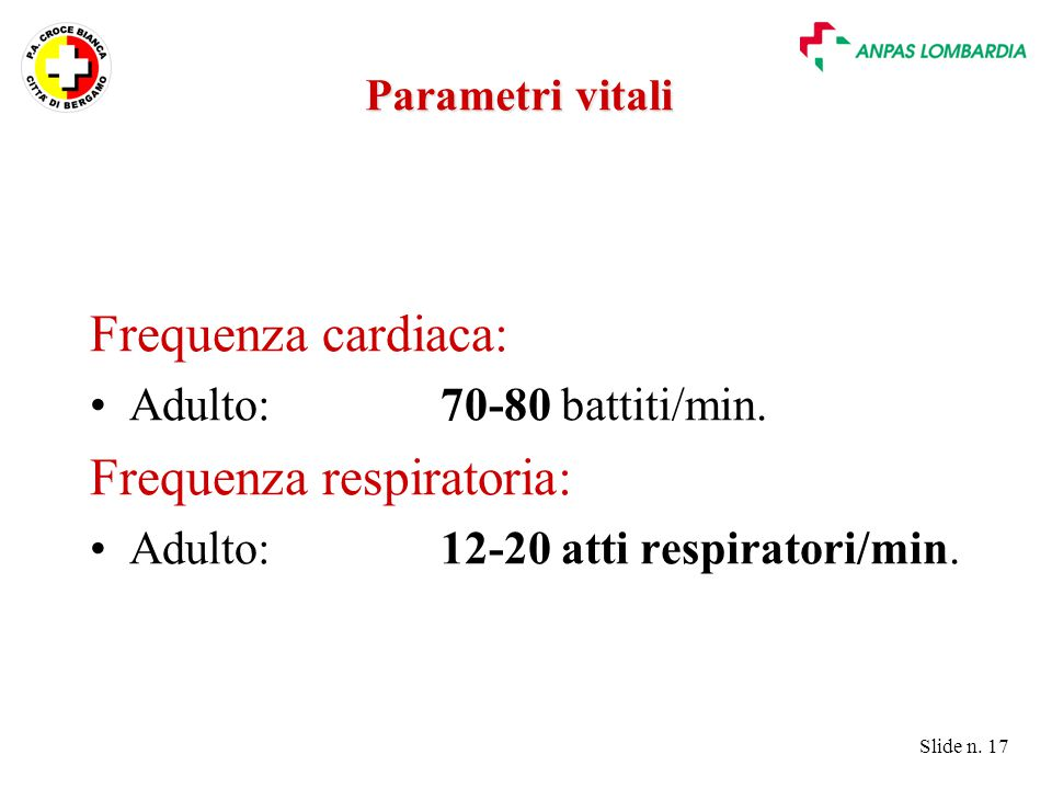 Frequenza respiratoria: