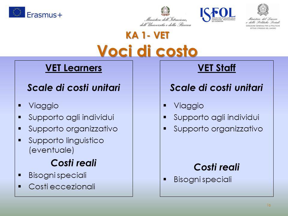 KA 1- VET Voci di costo VET Learners Scale di costi unitari