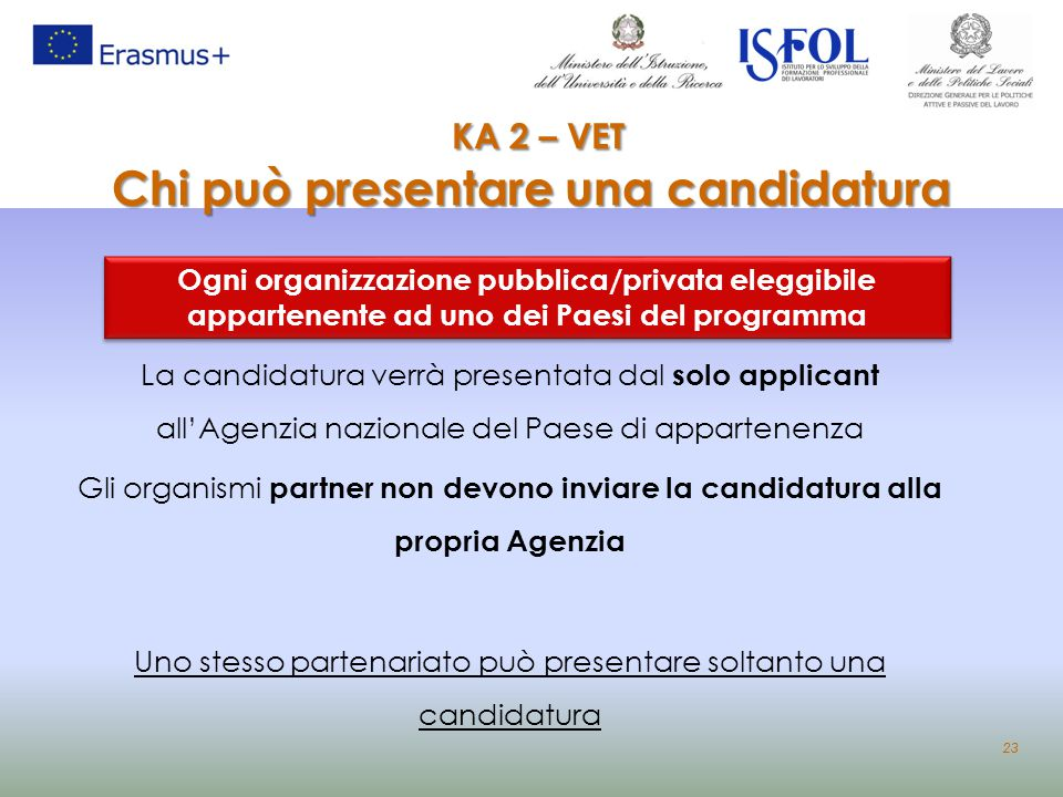 KA 2 – VET Chi può presentare una candidatura