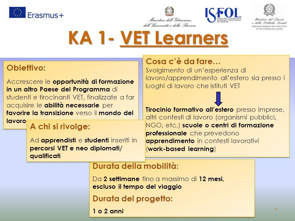 KA 1- VET Learners Cosa c'è da fare… Obiettivo: A chi si rivolge: