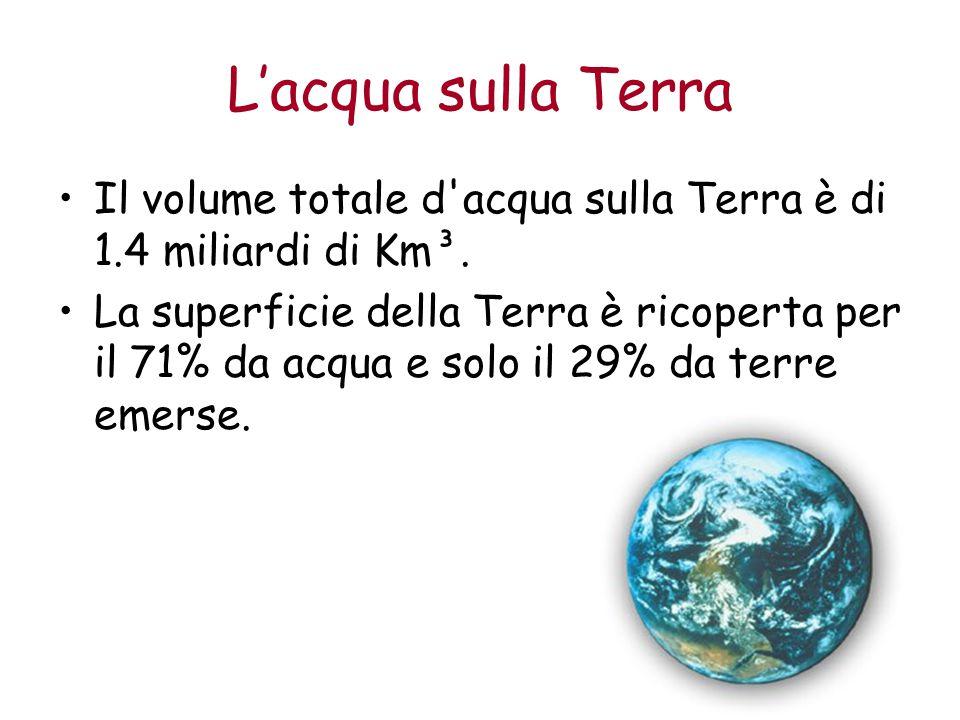 L'acqua sulla Terra Il volume totale d acqua sulla Terra è di 1.4 miliardi di Km³.