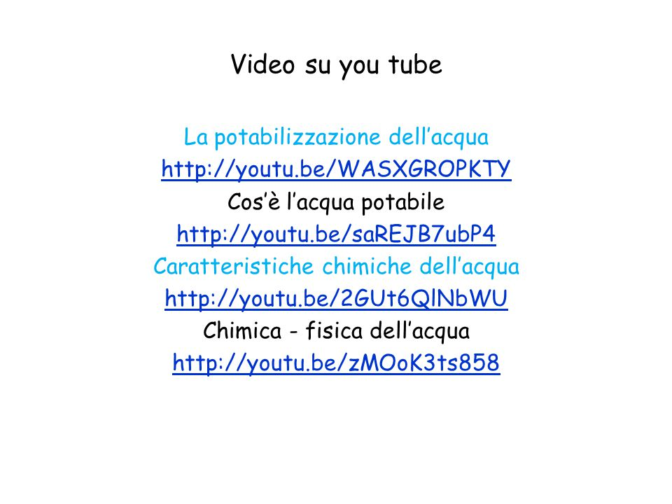 Video su you tube La potabilizzazione dell'acqua