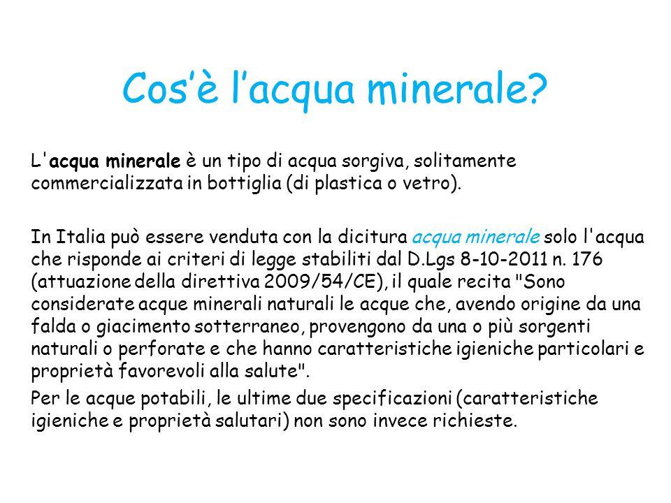 Cos'è l'acqua minerale