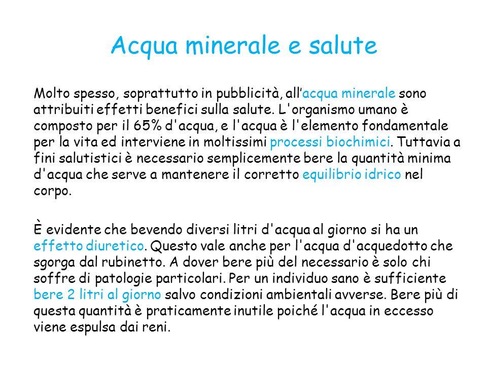 Acqua minerale e salute