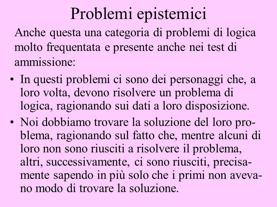 Problemi epistemici Anche questa una categoria di problemi di logica molto frequentata e presente anche nei test di ammissione: