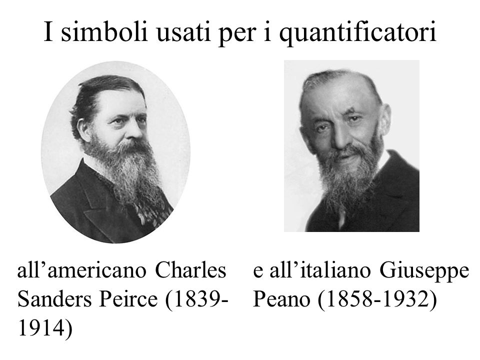 I simboli usati per i quantificatori