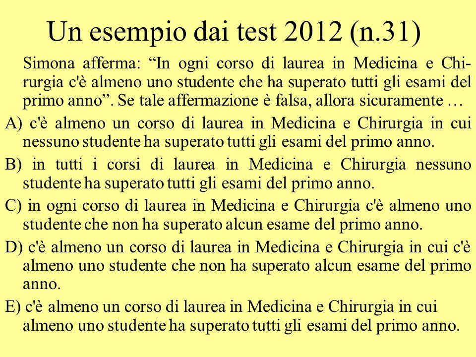 Un esempio dai test 2012 (n.31)