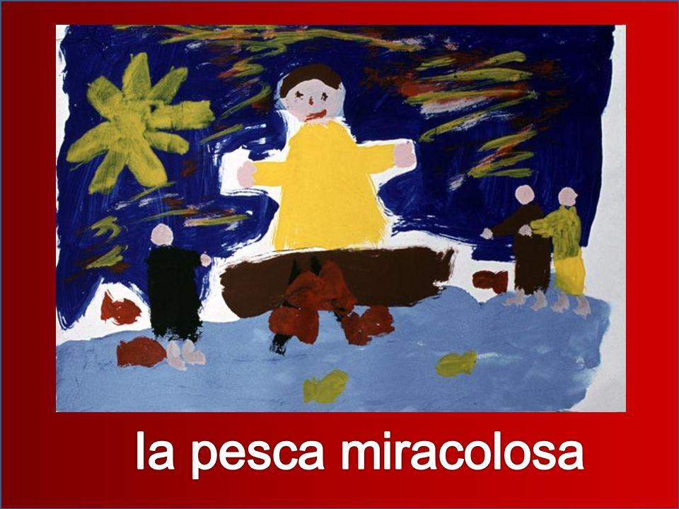 I suoi amici erano ritornati con la barca vuota , avevano provato a pescare tutta la notte, perché di notte si prendano più pesci, però non avevano preso neanche un pesciolino. Allora sono ritornati a casa non contenti, allora dice Gesù: Gettate le reti, questa volta i pesci li prenderete Allora dice Pietro: Abbiamo provato a pescare tutta la notte e non abbiamo preso niente . Allora dice Gesù: Se ascoltate le mie parole, io farò il miracolo