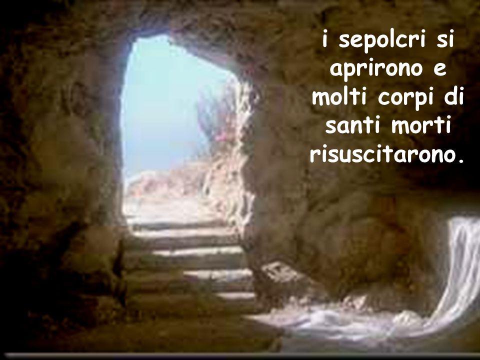 i sepolcri si aprirono e molti corpi di santi morti risuscitarono.