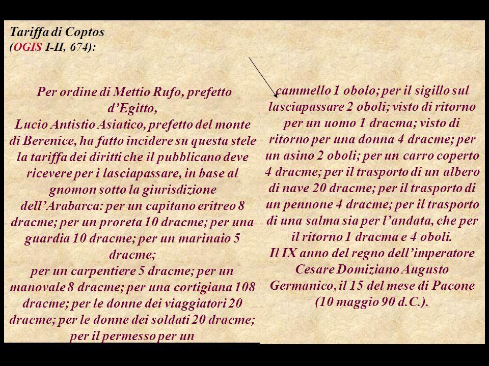 Per ordine di Mettio Rufo, prefetto d'Egitto,