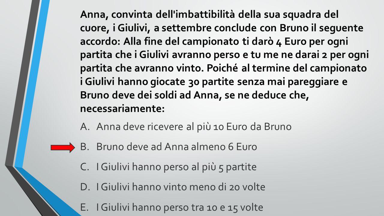 Anna, convinta dell imbattibilità della sua squadra del cuore, i Giulivi, a settembre conclude con Bruno il seguente accordo: Alla fine del campionato ti darò 4 Euro per ogni partita che i Giulivi avranno perso e tu me ne darai 2 per ogni partita che avranno vinto. Poiché al termine del campionato i Giulivi hanno giocate 30 partite senza mai pareggiare e Bruno deve dei soldi ad Anna, se ne deduce che, necessariamente: