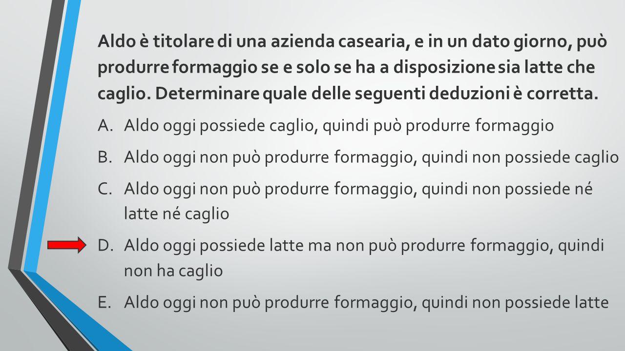 Aldo è titolare di una azienda casearia, e in un dato giorno, può produrre formaggio se e solo se ha a disposizione sia latte che caglio. Determinare quale delle seguenti deduzioni è corretta.