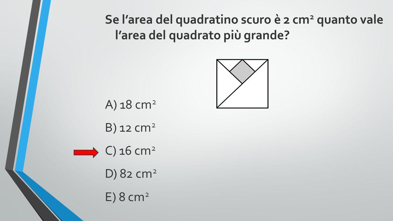 Se l'area del quadratino scuro è 2 cm2 quanto vale l'area del quadrato più grande