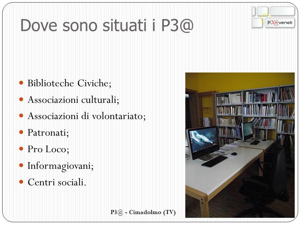 Dove sono situati i P3@ Biblioteche Civiche; Associazioni culturali;