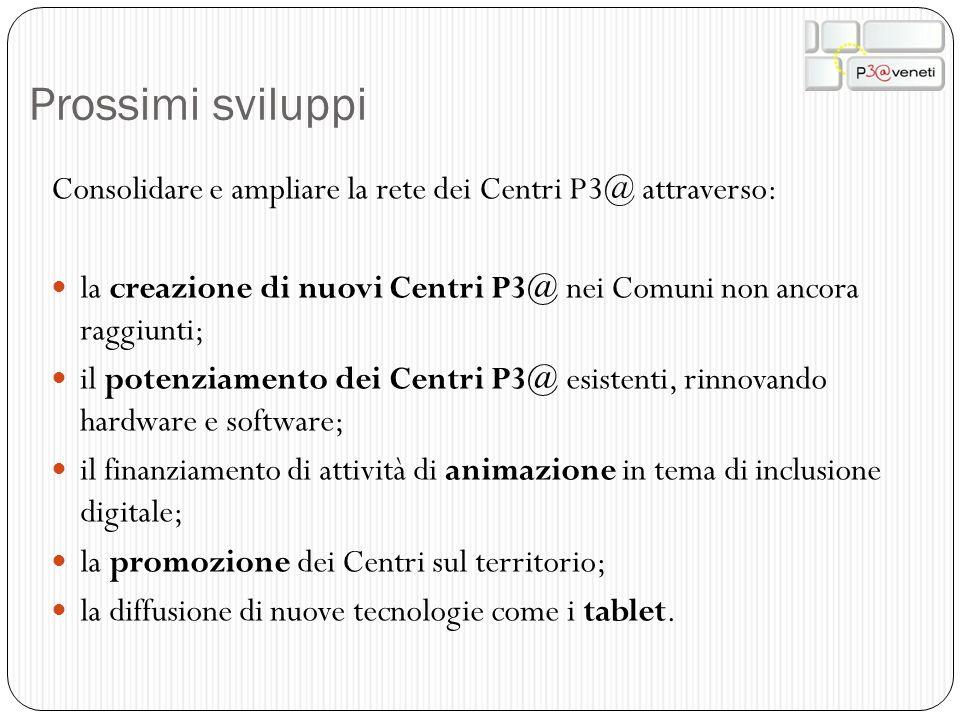 Prossimi sviluppi Consolidare e ampliare la rete dei Centri P3@ attraverso: la creazione di nuovi Centri P3@ nei Comuni non ancora raggiunti;