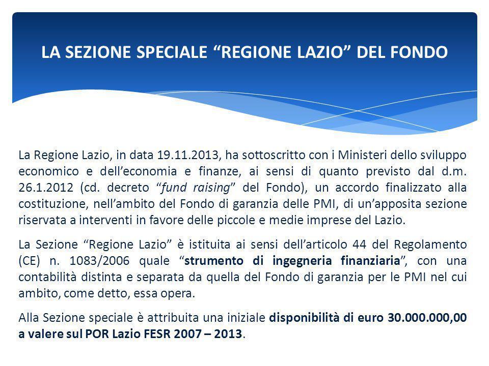 LA SEZIONE SPECIALE REGIONE LAZIO DEL FONDO