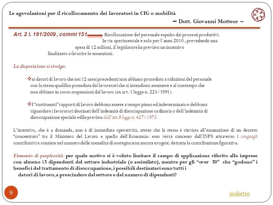 Le agevolazioni per il ricollocamento dei lavoratori in CIG o mobilità