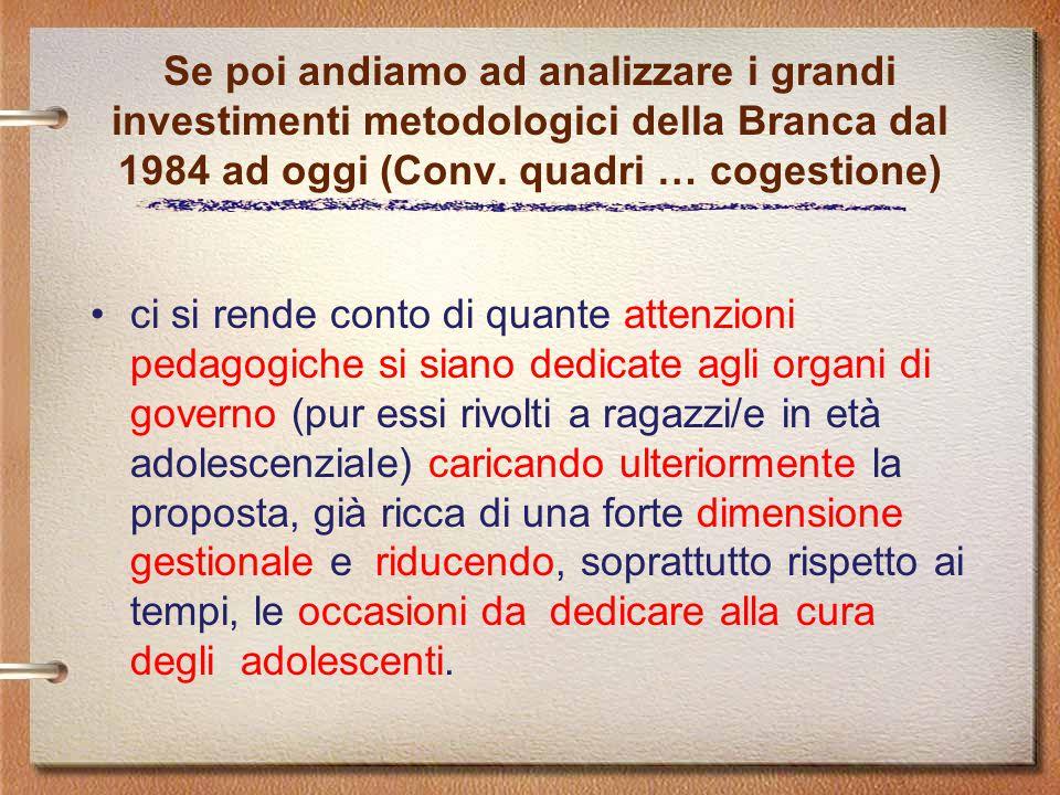 Se poi andiamo ad analizzare i grandi investimenti metodologici della Branca dal 1984 ad oggi (Conv. quadri … cogestione)