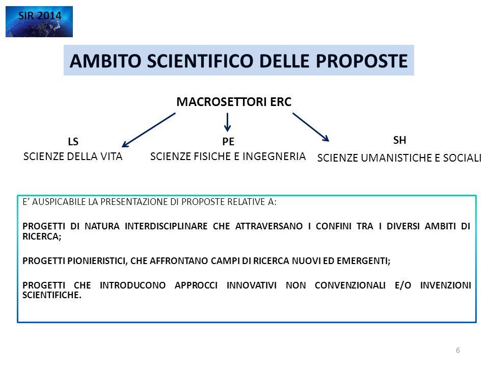 AMBITO SCIENTIFICO DELLE PROPOSTE