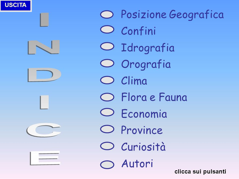INDICE Posizione Geografica Confini Idrografia Orografia Clima