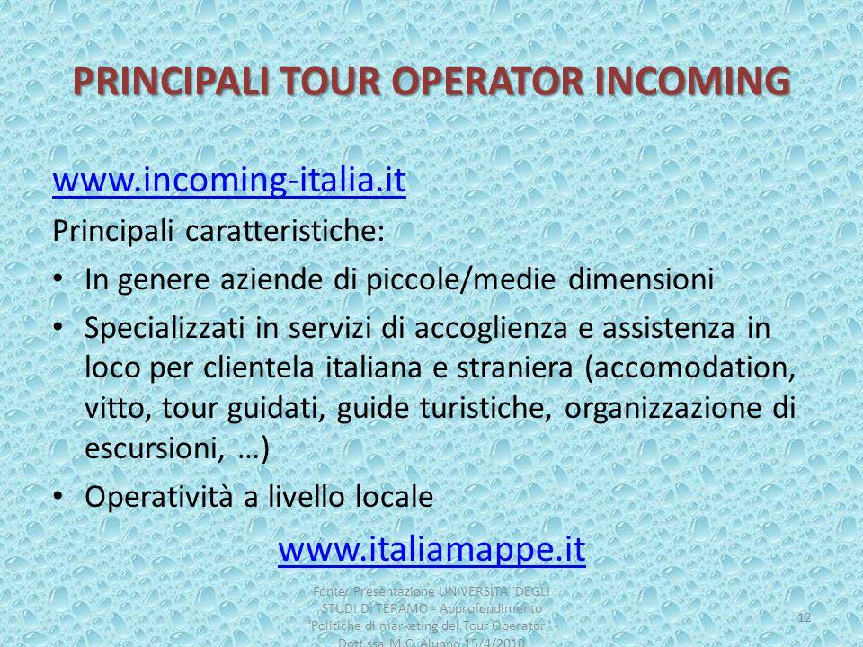 PRINCIPALI TOUR OPERATOR INCOMING