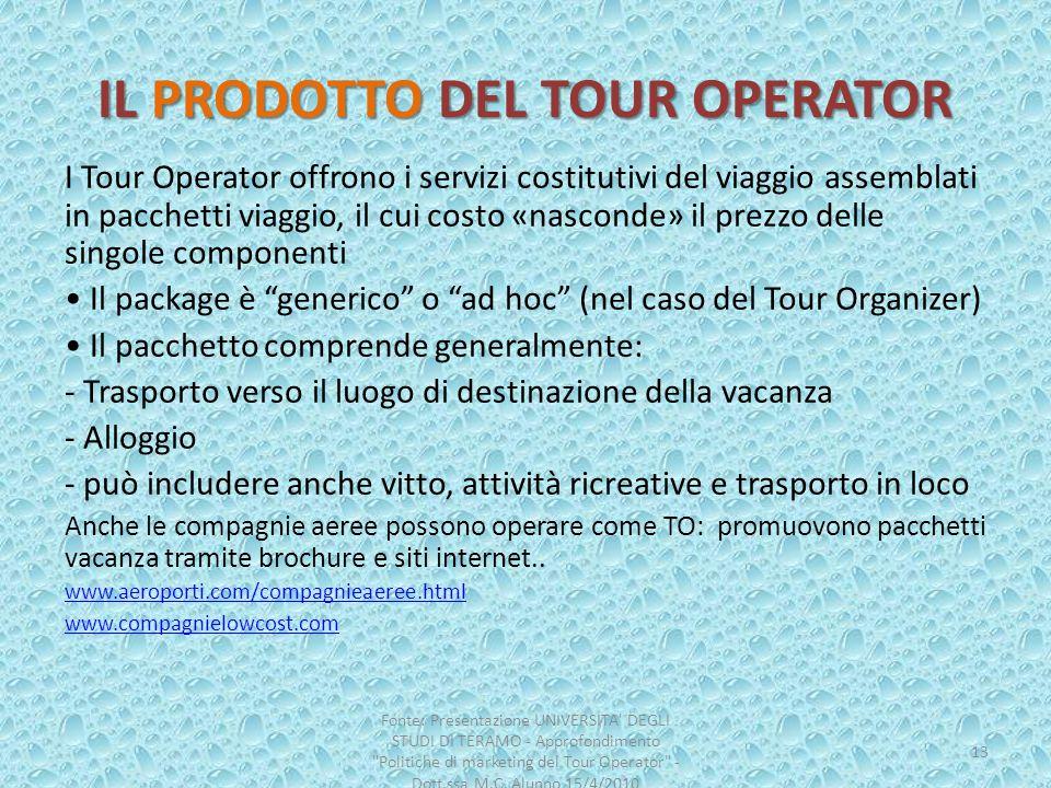 IL PRODOTTO DEL TOUR OPERATOR