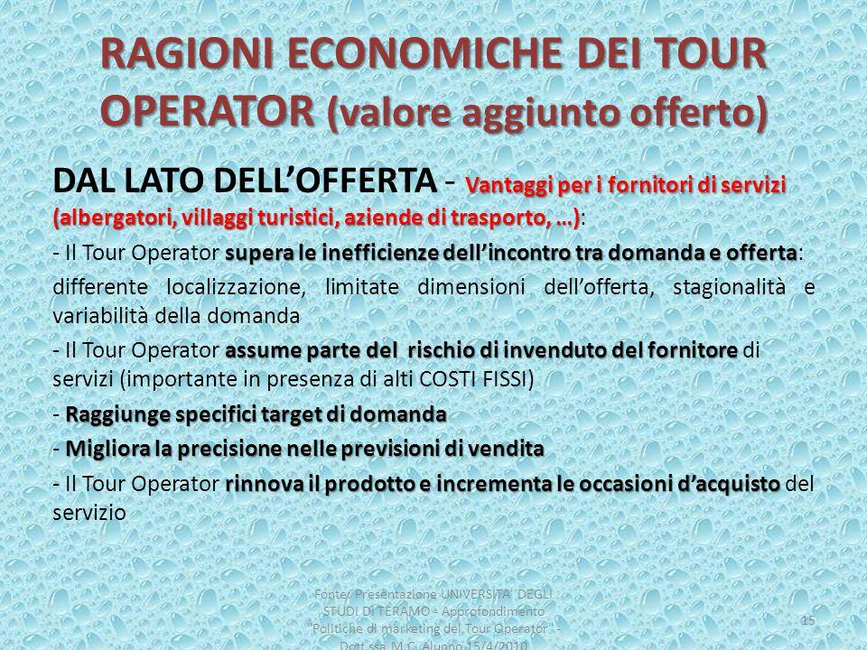 RAGIONI ECONOMICHE DEI TOUR OPERATOR (valore aggiunto offerto)