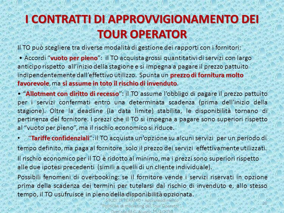 I CONTRATTI DI APPROVVIGIONAMENTO DEI TOUR OPERATOR