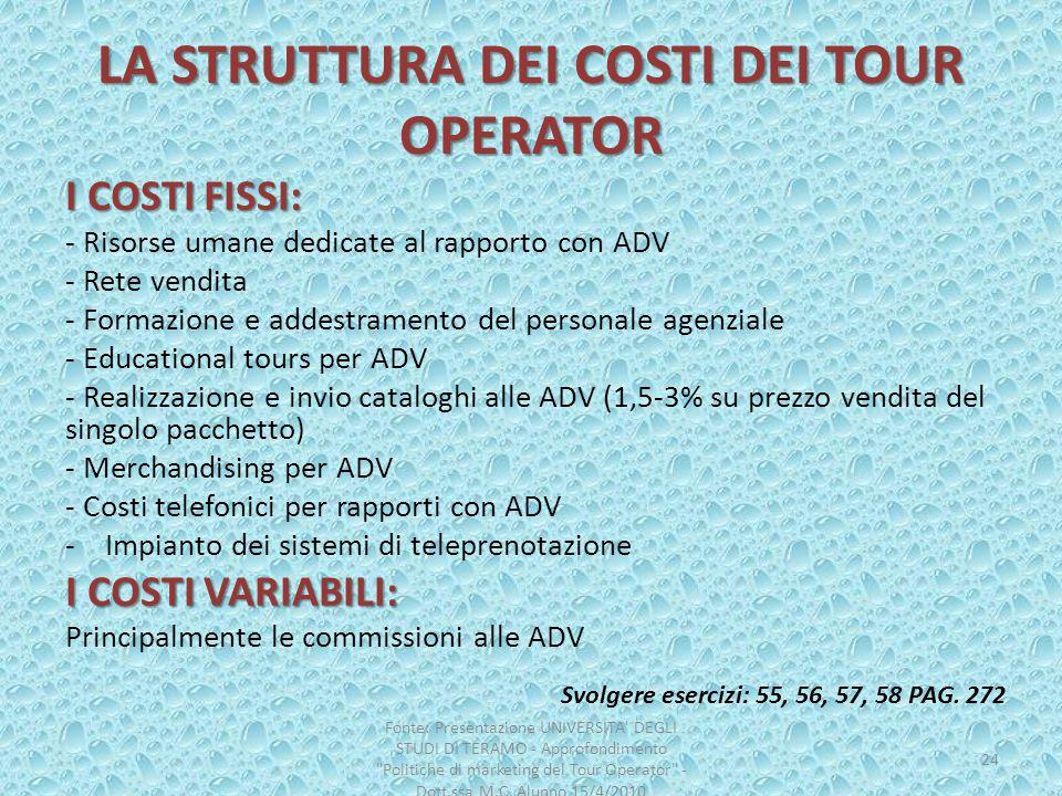 LA STRUTTURA DEI COSTI DEI TOUR OPERATOR