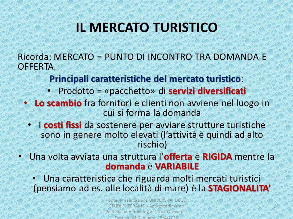 IL MERCATO TURISTICO Ricorda: MERCATO = PUNTO DI INCONTRO TRA DOMANDA E OFFERTA. Principali caratteristiche del mercato turistico: