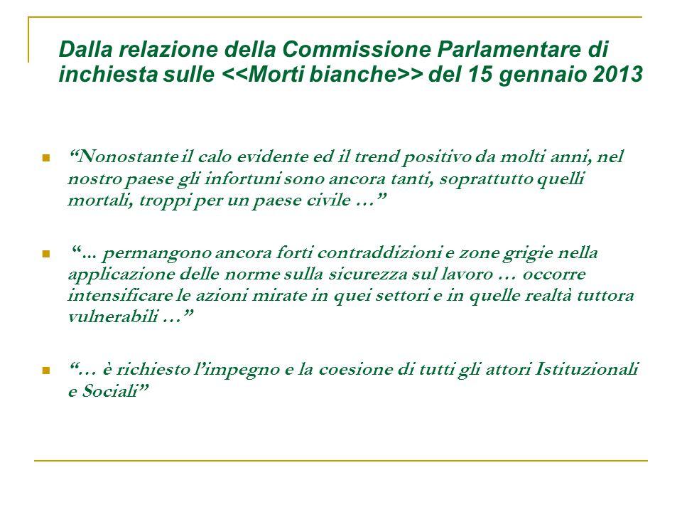 Dalla relazione della Commissione Parlamentare di inchiesta sulle <<Morti bianche>> del 15 gennaio 2013