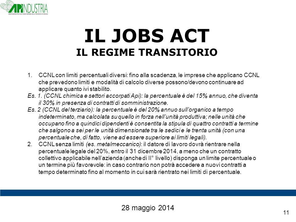 IL JOBS ACT IL REGIME TRANSITORIO