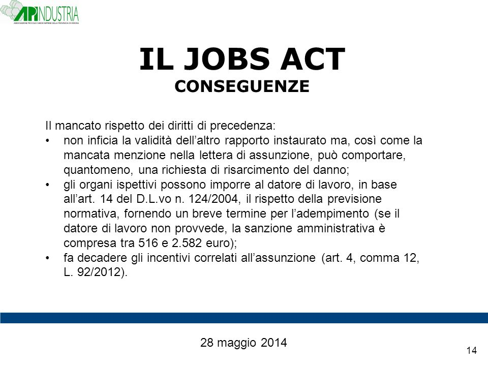IL JOBS ACT CONSEGUENZE