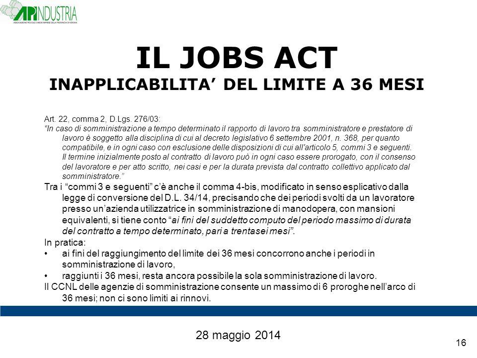 IL JOBS ACT INAPPLICABILITA' DEL LIMITE A 36 MESI