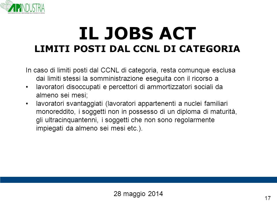 IL JOBS ACT LIMITI POSTI DAL CCNL DI CATEGORIA