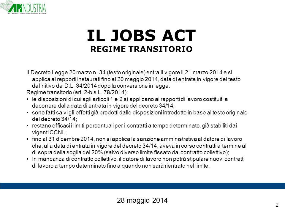 IL JOBS ACT REGIME TRANSITORIO