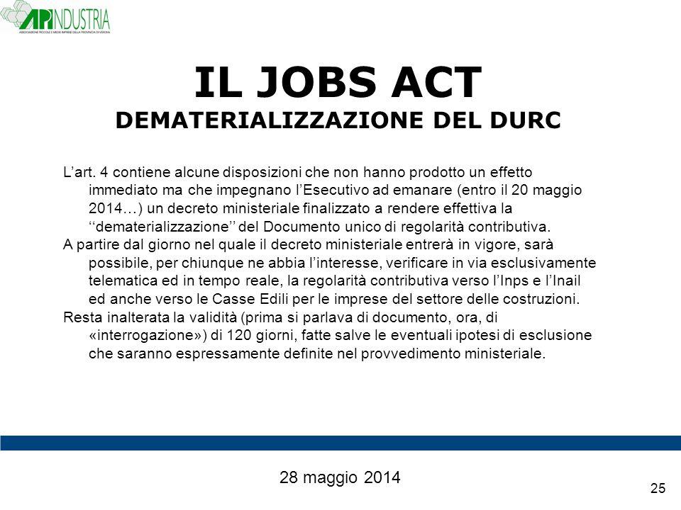 IL JOBS ACT DEMATERIALIZZAZIONE DEL DURC