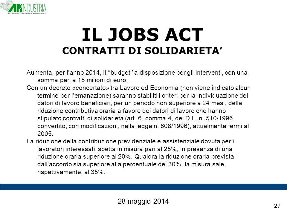 IL JOBS ACT CONTRATTI DI SOLIDARIETA'