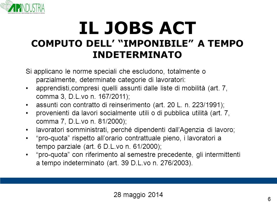 IL JOBS ACT COMPUTO DELL' IMPONIBILE A TEMPO INDETERMINATO