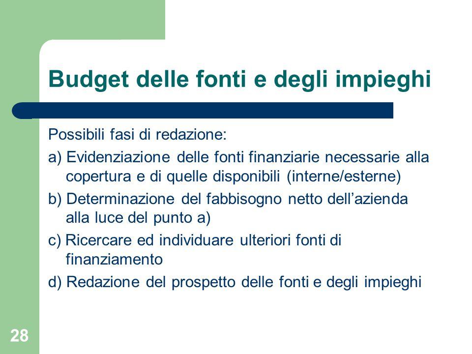 Budget delle fonti e degli impieghi