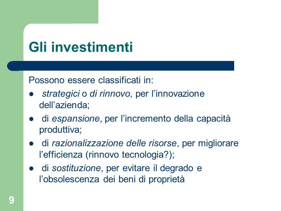 Gli investimenti Possono essere classificati in: